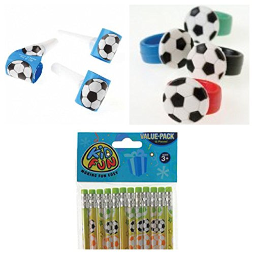 Soccer Theme Party Favor Set for 12 / 1 Dozen Soccer Pencils / 12 Party Blowouts / 12 Rubber Soccer Rubber Rings by CVN