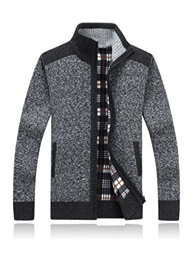 Annystore Mens Cardigan Sweaters Casual Slim Fit Full Zip Knitted Jacket With Pockets Grey M