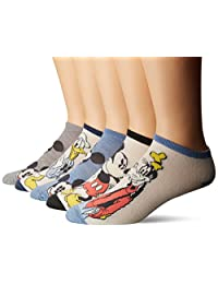 Disney mens standard Mickey Mouse 5 Pack No Show Socks