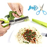 Chefaith 5-Blades Kitchen Herb Scissors [Blunt-Tip Kids Scissors as Bonus] - Super Sharp Stainless Steel Shears with Anti-Slip Silicone Coated on the Handle for Perfect Grip and Comfortable Use, Green