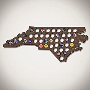 North Carolina Beer Cap Map Beer Gifts for Men Bottle Cap Holder Creates Cool Beer Art! Gift for Panthers, Hurricanes and Hornets Fans dark walnut stain