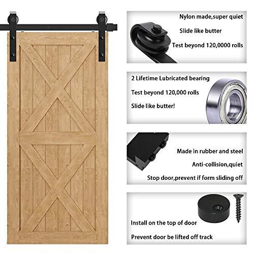 WINSOON 8FT Antique Double Sliding Barn Door Hardware Roller Track Kit Black 4-18FT for Choose