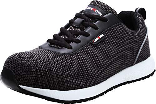 LARNMERN Steel Toe Shoes Men, Work Safety Reflective Strip SRA Industrial & Construction Shoe, LM1027 (11.5, Black Knit S1)