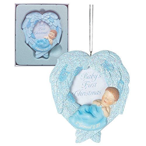 Baby's First Christmas Boy Blue Angel Wings Photo Frame Ornament 3