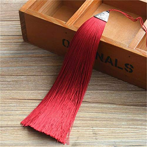 10pcs 6.7 Polyester Silk Tassel Charms for Earrings Chinese Knot Jewelry Making (Color - Red2)