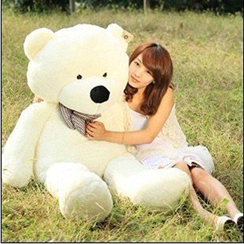 Cute Teddy (39'' Soft 100% Pp Cotton Toy Giant 100cm BIG Cute White Plush Teddy Bear Huge by Lanna)