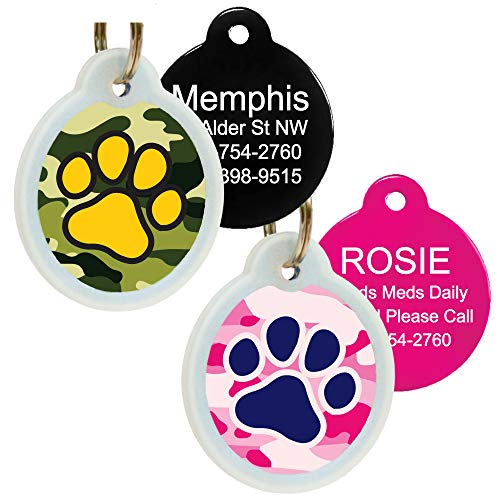 - Unique Cute Pet Tags Personalized w/ 4 Lines of Custom Engraved Text. Dog & Cat Collar ID Tags Come w/Glow in The Dark Silencer to Protect Tag & Engraving. Various Designs. (Pink Camo)