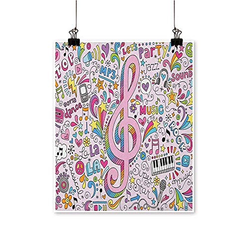 (70s Party,Wall Painting Music Clef Groovy Psychedelic Doodles Hand Drawn Hippie Symbols Signs Artwork W20 xL28 Wall Art Decor Poster)