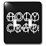 3dRose Alexis Design - Total Protest - Funny decorative total protest text Holy Crap on black - Light Switch Covers - double toggle switch (lsp_285994_2)
