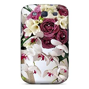 Galaxy S3 Hard Back With Bumper Silicone Gel Tpu Case Cover Freesia Orchids Roses Bouquet