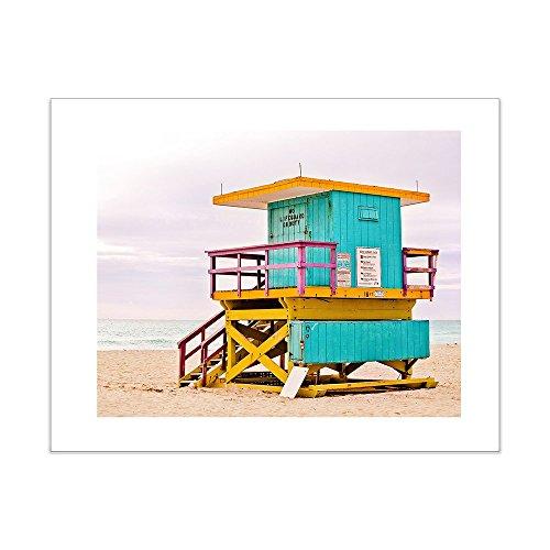 "Beach Photo Lifeguard Stand, 5x7 Inch Matted Print, Miami Beach Lifeguard Hut Photography -""Blue Yellow 4"""