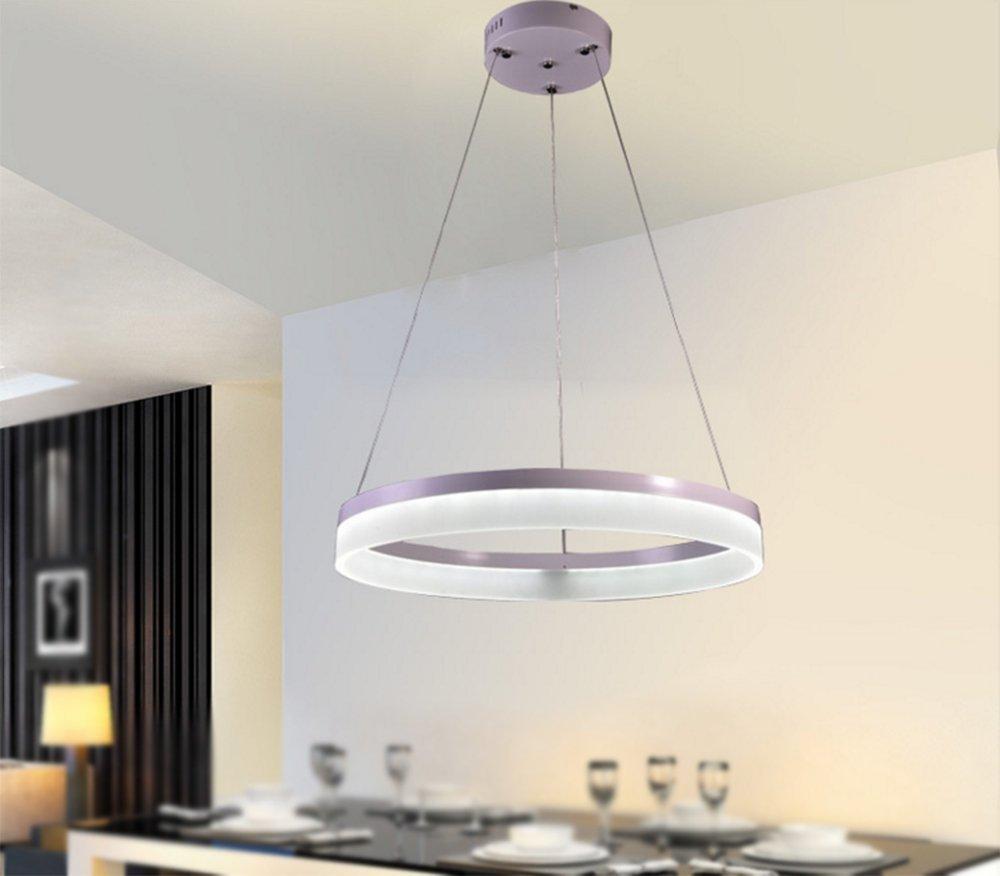 MeloveCc Kronleuchter Kreative Haushalt Beleuchtung und Chic Persönlichkeit und das Schlafzimmer Restaurants Bars Beleuchtung eine moderne minimalistische Led runde weiße Licht Single Ring 20 Cm