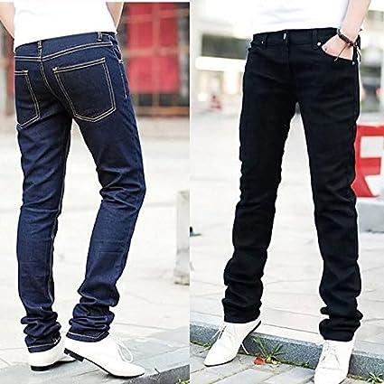 Mens Classic Straight Leg Black Navy Blue Casual Denim Jeans Regular Length