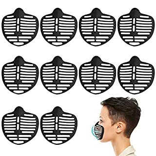 10Pcs 3D Mask Bracket, Face Mask Inner Support Frame Homemade Cloth Mask Cool Silicone Bracket More Space for Comfortable Breathing Washable Reusable Makeup Saver, Black