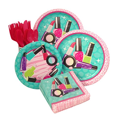 Makeup Spa Birthday Party Supply Pack Bundle For 8 (Girl Theme)