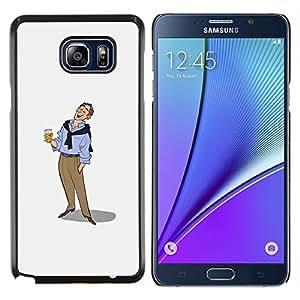 LECELL--Funda protectora / Cubierta / Piel For Samsung Galaxy Note 5 5th N9200 -- Hombre de la cerveza Arte Dibujo vacaciones relajadas --