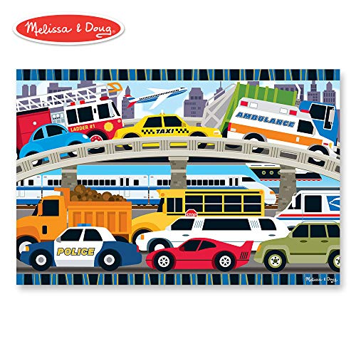 Vehicle Car Puzzle - Melissa & Doug Traffic Jam Floor Puzzle (Beautiful Original Artwork, Sturdy Cardboard Pieces, 24 Pieces, 24