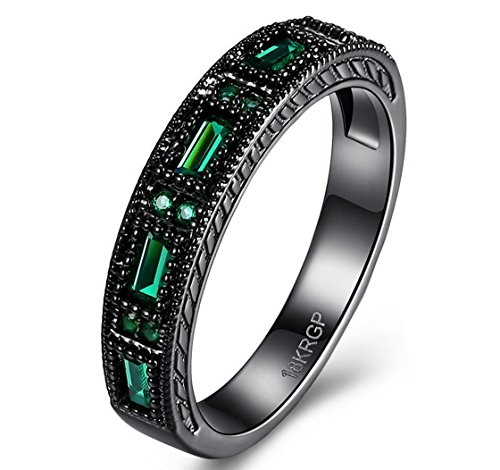 PSRINGS Four Square Emerald Ring Engaget Rings Black Gold Filled Elegant Rings Bague - The Emerald Mall Square