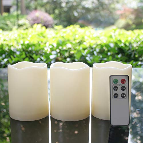 Outdoor Waterproof Flameless LED Pillar Candles with Remote