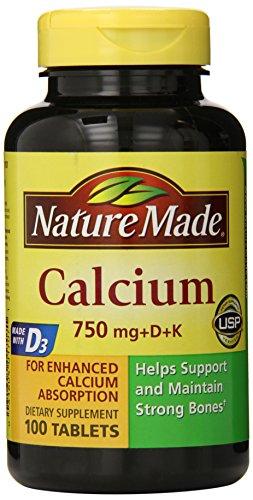 Naturaleza calcio 750 Mg, vitamina D y K, 100-cuenta