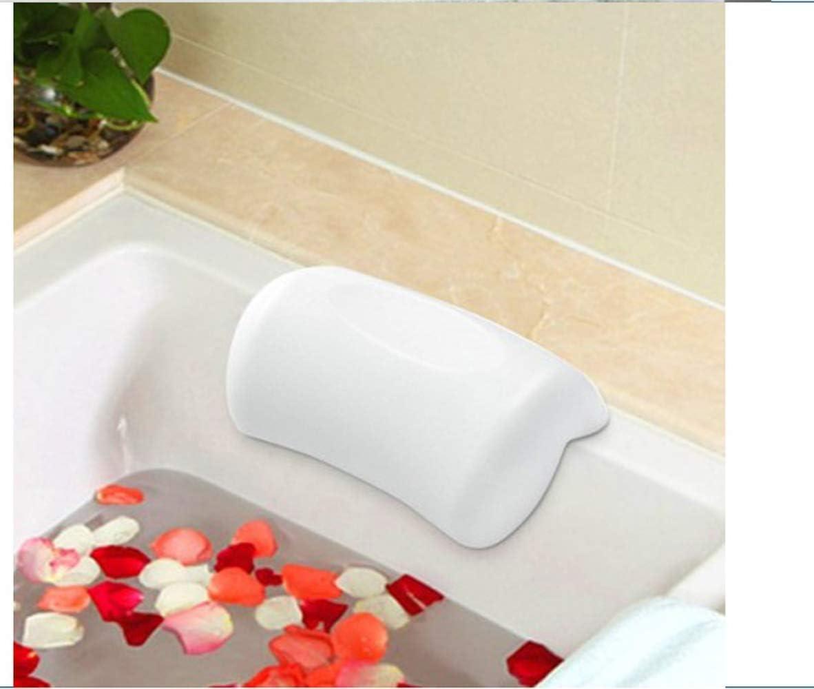 Almohada de baño de spa, suave con 2 ventosas, cabeza, cuello, almohada de apoyo, para bañera de hidromasaje, jacuzzi y spa en casa (blanco)