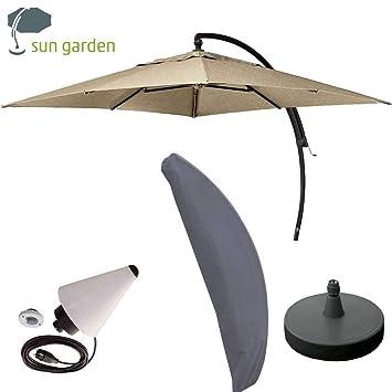 Sun Garden Ampelschirm Easy Sun Plus 3,20x3,20m komplettes Set mit  Schirmfuß und Schutzhülle (Taupe) > GH.011