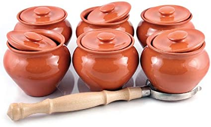 1-Serving Baking Stewing Stoneware Ramekin Clay Cooking Pot with Lid 0.5 L