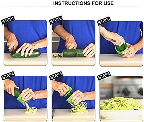FunRun Cortador en espiral, Cortador de Verduras Frutas en Espiral, manual, para hacer espaguetis de verduras y patatas, cortador de pepinos, rallador de zanahorias, rallador de verduras: Amazon.es: Electrónica