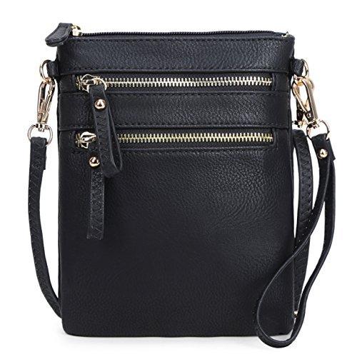 Solene Women's Faux Leather Organizer Multi Zipper Pockets Handbag With Detachable Wristlet Crossbody Bag,Black,Small