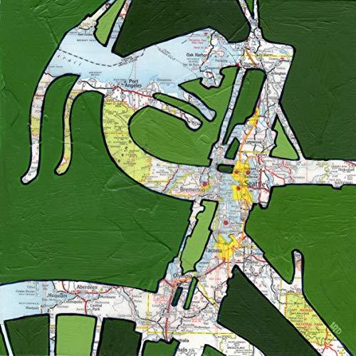 Seattle print - featuring Seattle, Bremerton, Bellevue, Tacoma, Olympia, Aberdeen, Port Angeles, Aberdeen, Mt Ranier, Washington, bicycle art, bike print, 8.5x8.5, 13x13, 16x16 ()
