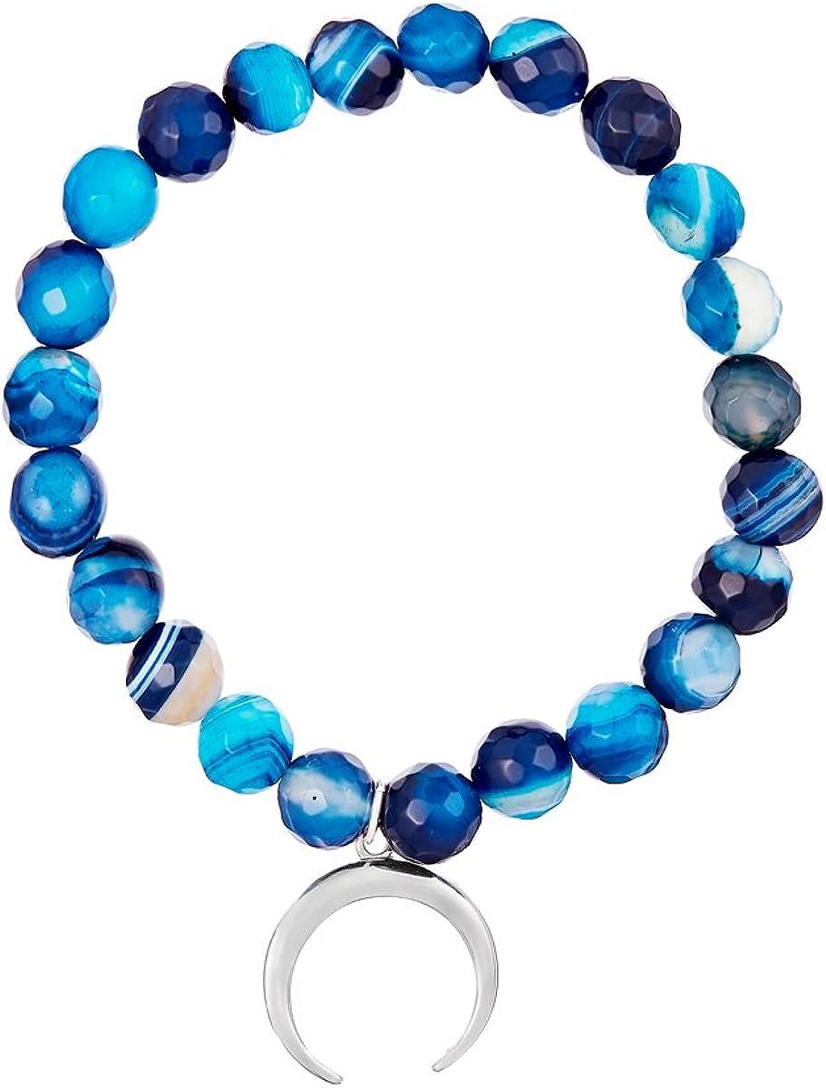 Córdoba Jewels | Pulsera en Plata de Ley 925 con Piedra semipreciosa con diseño Horn Aguamarina