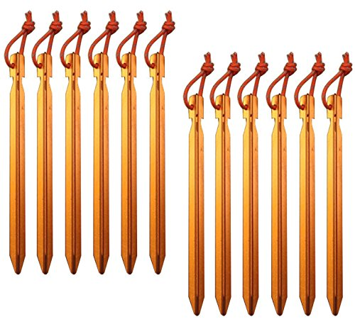 All one tech Pack of 12, 7075 Aluminum Outdoors Tent Stakes Pegs ()