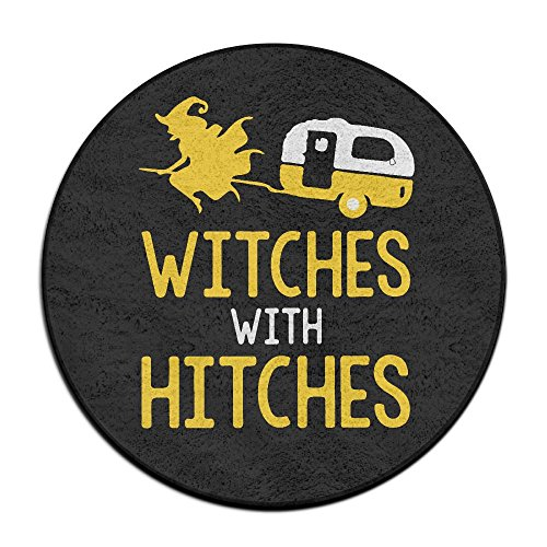 Witches With Hitches Camping Round Floor Rug Doormats For Home Decorator Dining Room Bedroom Kitchen Bathroom Balcony