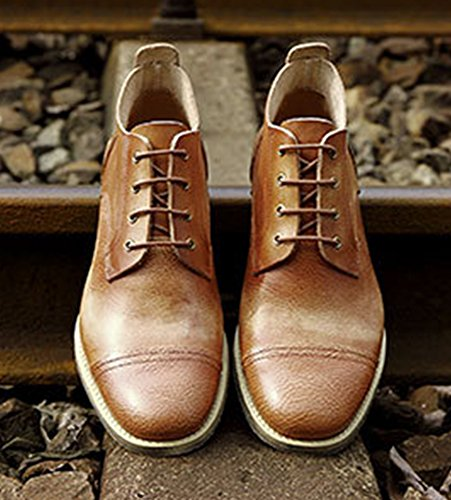 Insun Menns Vintage Oksehud Chukka Boots Brun ...