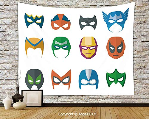 AngelDOU Superhero Lightweight Fabric Tapestry Wall Hanging Hero Mask Female Male Costume Power Justice People Fashion Icons Kids Display for Living Room Bedroom.W78.7xL59(inch)]()