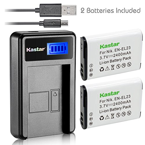 Kastar Battery (X2) & LCD Slim USB Charger for Nikon EN-EL23, ENEL23 MH-67 and Nikon Coolpix P600, P610 S810c, P900 Digital Cameras by Kastar