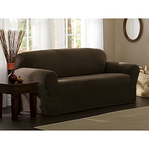 Maytex Stretch Reeves 1-Piece Sofa Slipcover, Chocolate - 1 Piece Recliner Slipcover