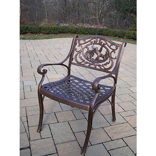 Oakland Living Hummingbird Cast Aluminum Arm Chair, Antique Pewter ()