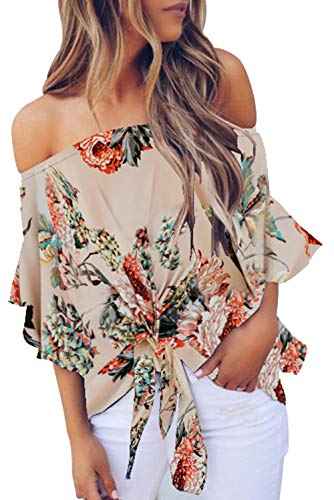 Strapless Blouses for Women Bell Sleeve Floral Print Tie Knot Front Casual Chiffon Blouse Tops Apricot XXL ()