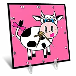3dRose LLC Happy Cow Girl Desk Clock, 6 by 6-Inch