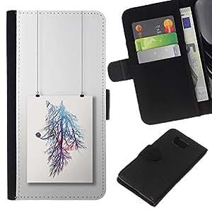 Pintura rama de árbol colorido- la tarjeta de Crédito Slots PU Funda de cuero Monedero caso cubierta de piel Para Samsung ALPHA G850