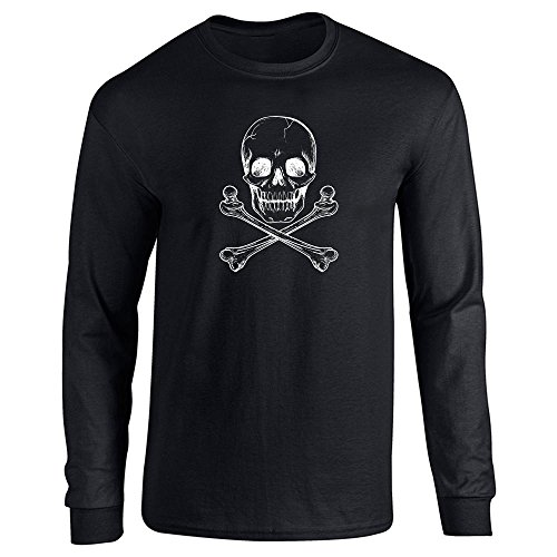 Black Bone Cross (Pop Threads Skull and Cross Bones Black M Long Sleeve T-Shirt)