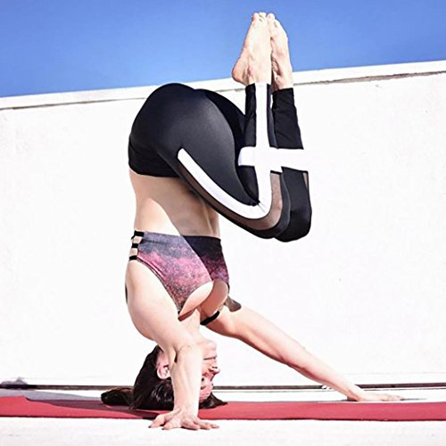 HARRYSTORE Mujer Yoga Elastic Sportswear Gimnasio Running Pantalones Fitness Leggings Negro