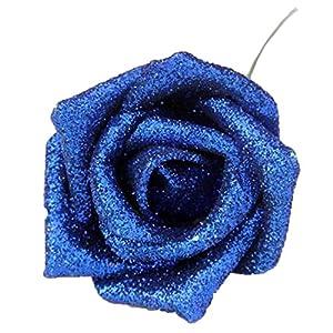 Calcifer 50pcs Sparkling Artificial Flowers Foam Rose Bridal Wedding Bouquets for Wedding Party Home Garden Decor (Royal Blue) 91