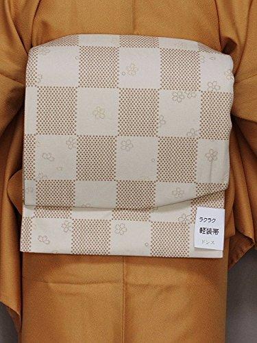 潜在的な服バンケット作り帯 名古屋帯 お太鼓結びです 簡単に帯付け 軽装帯 茶系色の帯 D5381-20