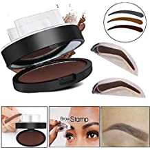 DZT1968 3 Color Natural Waterproof Straight United Eyebrow Powder Makeup Brow Stamp Palette Delicated Shadow Definition (B)