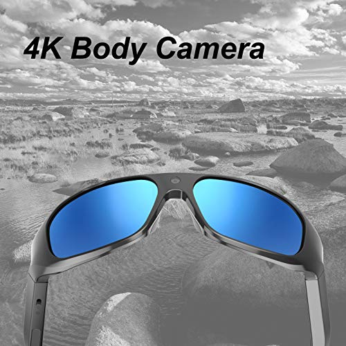 OHO 4K Ultra HD Waterproof Video Sunglasses, Sports Action Camera with Built-in 128GB Memory and Polarized UV400 Protection Safety Lenses,Unisex Sport Design