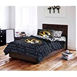 5pc NCAA University Missouri Tigers Comforter Queen Set, College Basket Ball Themed, Fan Merchandise, Team Spirit, Black Gold, Sports Patterned Bedding, Team Logo