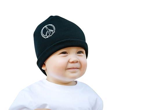b507dd16f7a34 Amazon.com  Melondipity Boys Black Peace Baby Hat - High Quality ...