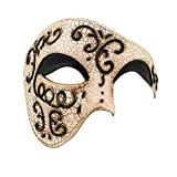 Luxury Mask Half Face Mask Masquerade Phantom Of The Opera, Black, One Size